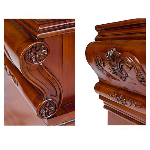 Carved wooden detailing is a feature of the WBX Barber Station