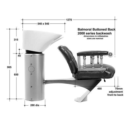 Dimensions for the WBX Balmoral 2000 Backwash