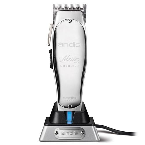 Andis Master Cordless hair clipper on its charging stand