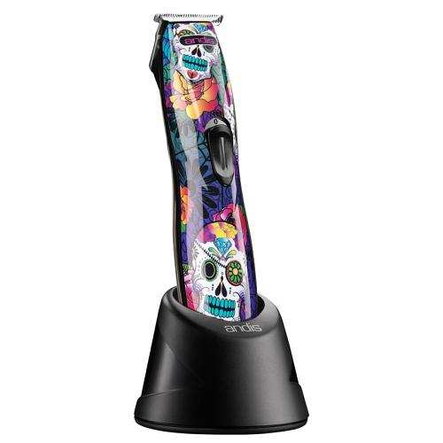 Andis D8 Lithium Sugar Skull on its charging stand.