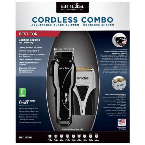 Packaging for the Andis Cordless Combo