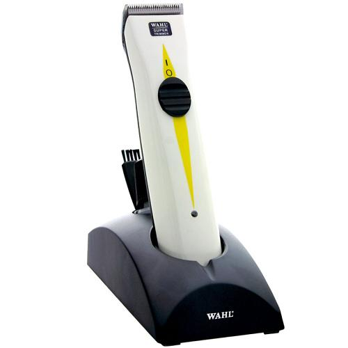The Wahl Super Trimmer on its stand