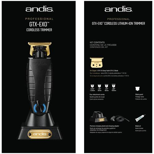 Front & back of the packaging for the Andis GTX-EXO.