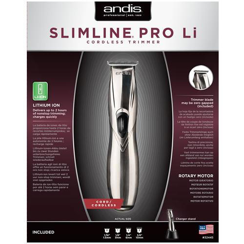 Packaging for the silver Andis D-8 Slimline Pro Lithium Ion Trimmer