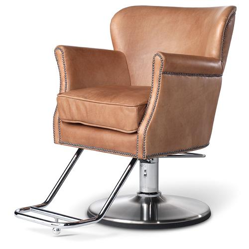 Takara Belmont Dux styling chair in Camel leather
