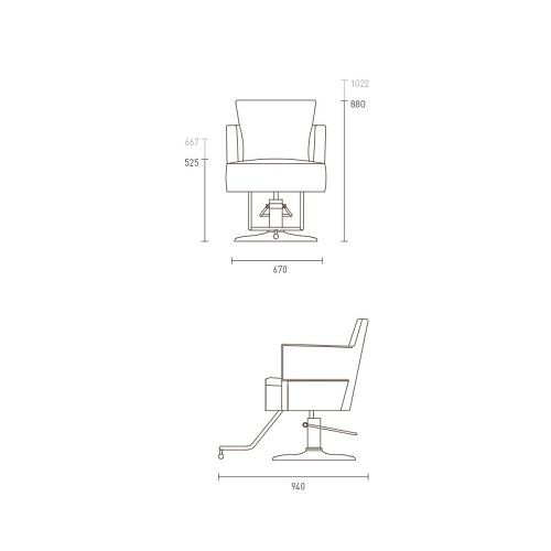 Dimensions for the Takara Belmont Dux styling chair