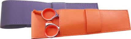 Orange & purple scissor pouches for DMI Professional Thinning Scissors.