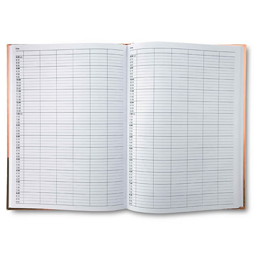 Inside of 6-column Quirepale Metallic Appointment Book