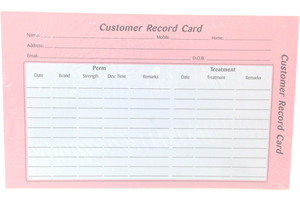 Quirepale Hairdressing Record Card