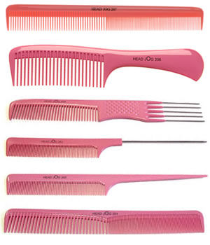 Head Jog Set of 6 Pink Combs