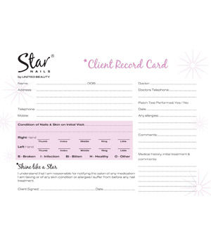 Star Nails Client Record Cards (x50)
