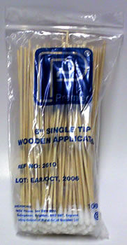 "Premier 6"" Single Tip Wooden Applicators (x 100)"