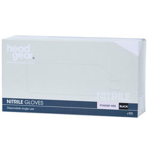 Head-Gear Disposable Powder-Free Black Nitrile Gloves