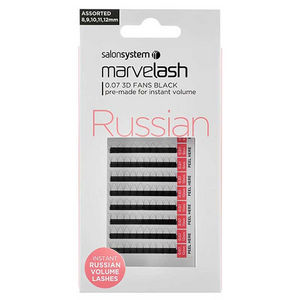 Salon System Marvel-Lash Russian 0.07 3D Fans Black Lashes