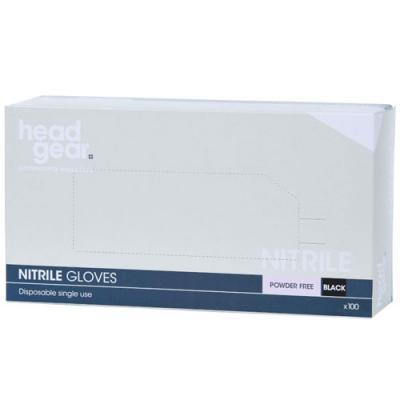 Head-Gear Disposable Powder-Free Black Nitrile Gloves